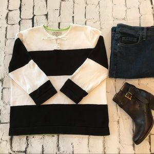 🌟 Evan Picone Retro Navy Striped Tie Sweater SZ L